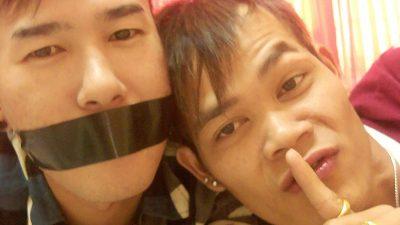 Asian boy gagged